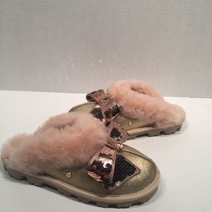 UGG GOLD COQUETTE SEQUIN BOW SHEEPSKIN SLIPPERS